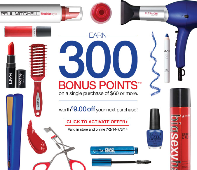 Earn 300 Bonus Points on a single purchase of $60 or more. That's worth $9 off your next purchase. Valid in store and online 7/2/14-7/6/14.