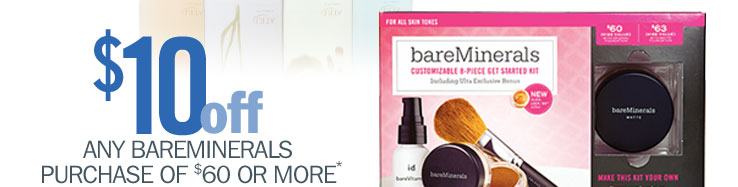 $10 off any $60 bareMinerals purchase PLUS free gift